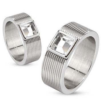 Multi Lined 316L S. Steel Rings with Bezel set Square CZ center