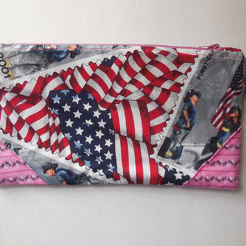 American Flag Pink Zipper Pouch - Gift for Teacher - Pencil Case - September 11th Memorial Stamp Fabric