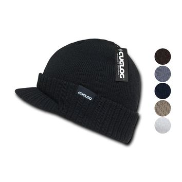Cuglog Ribbed Knit Cuffed Double Lined Jeep GI Visor Beanies Warm Winter Cap Hat