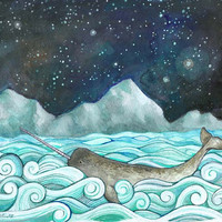 Print from my Illustration 8x10 Narwhal & the by calamaristudio