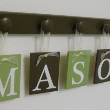 Nursery Decorations Wooden Letters. Set Includes 5 Hangers and Custom Baby Name MASON Painted Light Green and Brown. Personalized Baby Gift