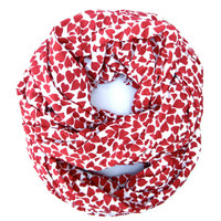 Red Valentine Hearts Infinity Scarf Womens Endless Loop Tube Scarf Valentine Fashion Scarves Cute Teen Womens Valentines Day Scarf