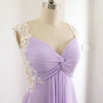 Prom Gown, Lavender Lace Chiffon Prom Dress, Sweetheart Long Formal Dress, Wedding Party Dress, Straps V Neck Floor Length Bridesmaid Gown