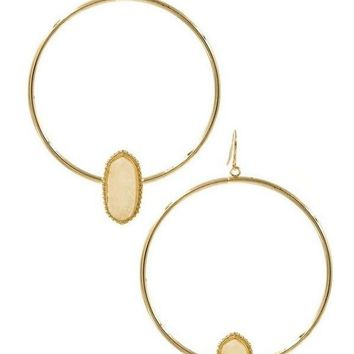 Acrylic druzy stone hoop drop earrings, Gold-Ivory