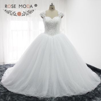 Rose Moda Luxury Heavily Crystal Beaded Corset Puffy Princess Wedding Ball Gown Removable Lace Cap Sleeves Royal Train