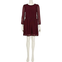 Dark red Chelsea Girl embroidered dress