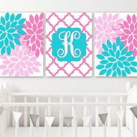 Turquoise Pink Girl Nursery Wall Art, Baby Girl Monogram Nursery Art, Girl Pink Turquoise Bedroom Wall Decor, CANVAS or Prints, Set of 3 Art