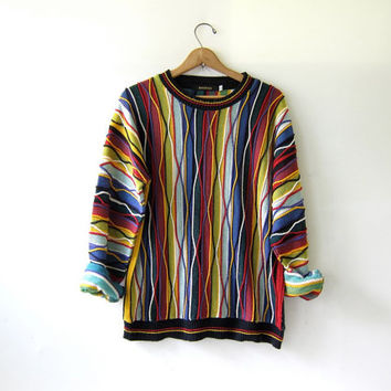 20% OFF SALE. Vintage 80s abstract sweater. Bill Cosby sweater. Oversized sweater. Crazy sweater.