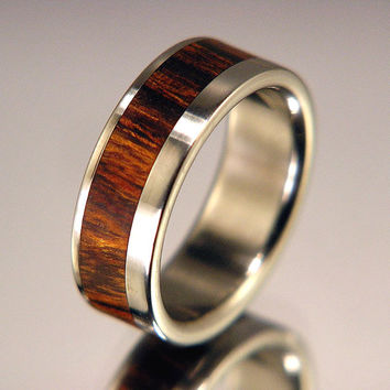 Titanium Wood Wedding Band or Ring Desert Ironwood Wood Offset Inlay