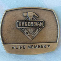 Handyman Belt Buckle Life Member 1996 Antiqued Brass