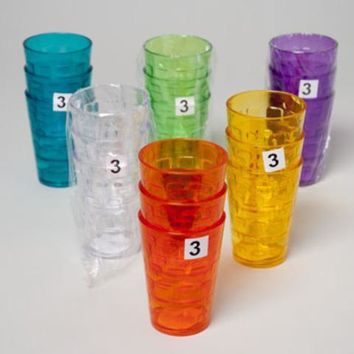 Tumblers Glass Look - 6 Assorted Colors (3Pk. 8Oz) - CASE OF 48