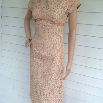 Lace Cocktail Dress Party 1960s 60s Vintage XS