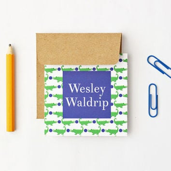 Small Enclosure Cards Personalized Gift Tags for Boys Custom Mini Birthday Card Green Navy Alligator Crocodile Preppy Gift Cards / Set of 25