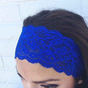 Yoga Headband in Cobalt Blue