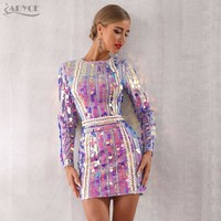 Adyce 2019 New Winter Women Celebrity Evening Runway Party Dress Vestido Sexy Violet Long Sleeve Sequined Mini Luxury Club Dress