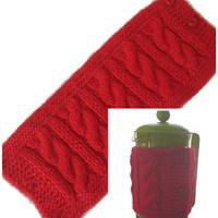 "French Press Pot Cozy, Red Hand Knitted Cable Pattern Cafetiere Cozy, Fits Beaker 12"" (30.5cm) in Diameter, Free US Shipping"