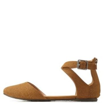 Tan Crisscrossing Ankle Strap Flats by Charlotte Russe