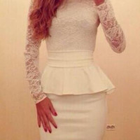 Sexy White Lace Splicing Long Sleeve Peplum Dress