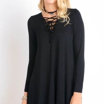 Most Memorable Lace Up Shift Dress - Black
