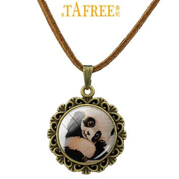 TAFREE Lovely Animal glass gem pendant Rabbit Pug Wolf Panda Totoro Turtle Hedgehog statement necklace for men women A317