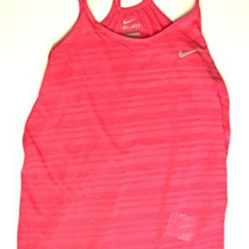 PEAPON Nike Womens Dri-Fit Breeze Strappy Running Tank, Pink, Large, 811449-616