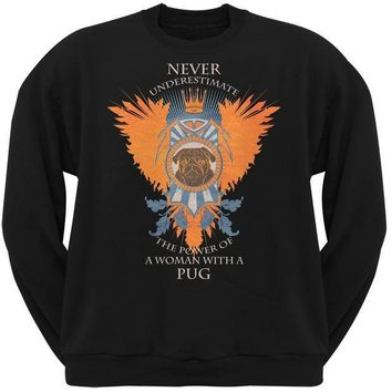 CREYCY8 Never Underestimate Woman Power Pug Black Adult Crew Neck Sweatshirt