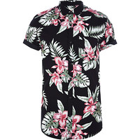 River Island MensBlack Hawaiian print short sleeve shirt