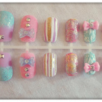 Hand painted false nails  Cute 3D NAIL ART  by NailedItByChelsey