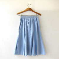 20% OFF SALE Vintage Light Wash Blue Skirt. Mini Length Skirt. Basic Chambray Cotton Skirt. High Waist Skirt. Bohemian Preppy.