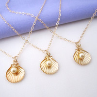 Beach Wedding Bridesmaids' Necklaces - Set of three or more gold seashell necklaces