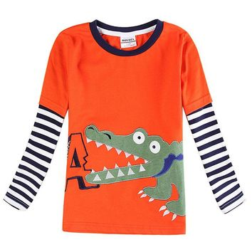 boys t shirt children clothing crocodile printed nova kids clothes cotton long sleeve t shirt for boys in spring autumn A6185