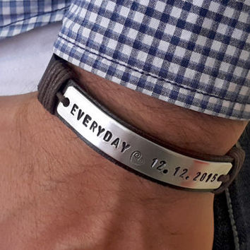 custom gifts bracelet engraved il father for day etsy bracelets man leather men s market