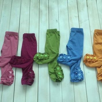 RTS Side Button Ruffle Leggings! Lots of Colors To Choose From!