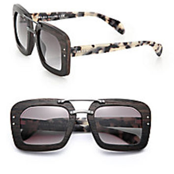 Prada - Wooden 51MM Square Sunglasses - Saks Fifth Avenue Mobile