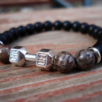 Black Bead Bracelet, Onyx Bracelet, Gift For Men, Gift For Her, Barbell Jewelry, Fitness Jewelry, Motivational Jewelry,  Charm Bracelet