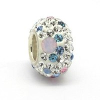 Opal with Pink, White and Blue Swarovski Crystal Charm - Genuine 925 Sterling Silver. Core 4.5mm Hole to fit Pandora, Biagi and most other European Bracelets. 10mm x 8mm. Compatible with other Pandora Charm Size