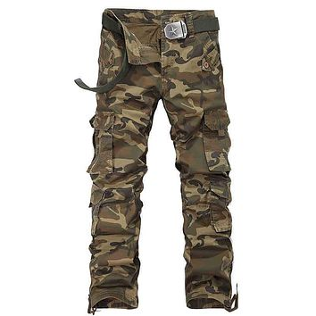 Camouflage Cargo For Men Loose Cotton Pants