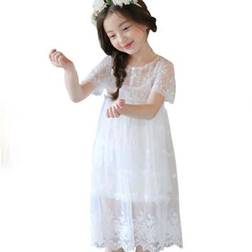 Kids Princess Dress Summer Girl Dress Girls Mesh Lace Evening Party Dresses 2-12Y Children Costume Fashion Clothes Whit Pink