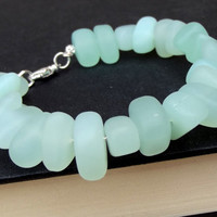 Aqua Sea Glass Chunky Bracelet: Seafoam Green Beaded Memory Wire Beach Freefoam Pebble Jewelry