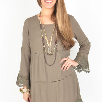 Olive Tiered Dress with Crochet Hem and Bell Sleeves