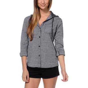 Empyre Girls Hampton Black Chambray Hooded Shirt at Zumiez : PDP