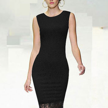 Sleeveless Bodycon Midi Dress with Lace Accent