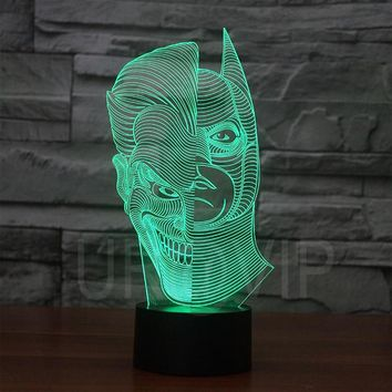 JC-2835  Amazing 3D Illusion led Table  Lamp Night Light with double face shape  with batman shape with mask shape