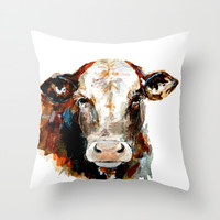 Cow watercolor Throw Pillow by Craftberrybush