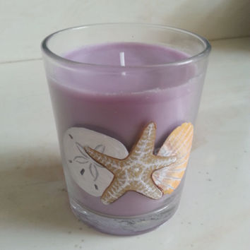 Lilac Candle, Hand Painted Candle, Starfish Sand Dollar Seashell, Purple Candle, Handpainted Home Decor, Scented Candle
