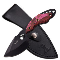 "Elk Ridge Fixed Knife 7.25"" - 3.5"" SS Blade Pink Camo Handle"