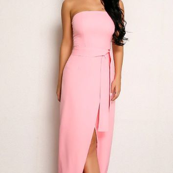 In Your Dreams Strapless Maxi Slit Front Belted Tulip Hem Tie Waist Maxi Dress - 2 Colors Available
