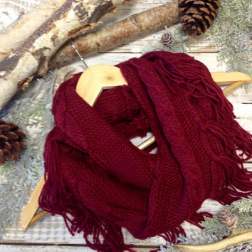 Taos Tassel  scarf, burgundy, wrap, tassel, fringe, knit, cowl, tube, winter, fall, infinity, shawl, women, knitted, western, unique |  SC26