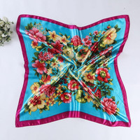 90cm*90cm   Female Floral Print Scarf Women Polyester Scarf  Design Office Ladies Square Scarf/Shawl Women #1201 BL