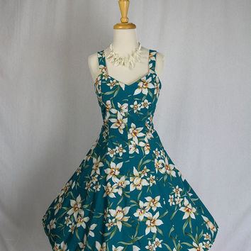 Vintage 80's 50's HAWAIIAN BOMBSHELL Halter Circle Sun Dress S